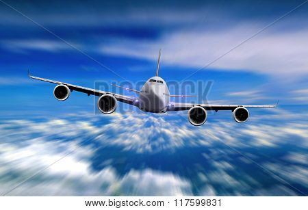 Airplane Flying Over Cloudy Sky