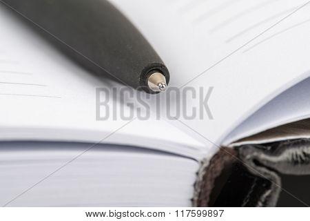 Ballpoint pen close-up lying in an open notebook