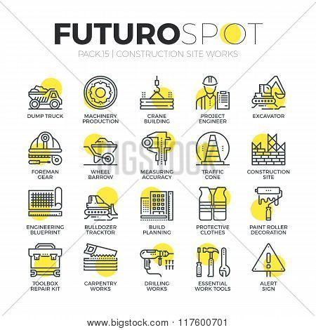 Construction Work Futuro Spot Icons