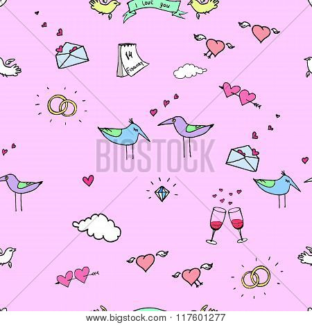The seamless colorful vector pattern. Valentine`s day.