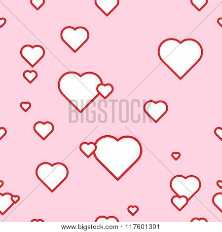 The seamless vector pattern with the hearts on the pink background.