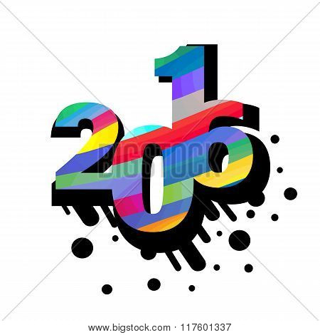 2016 number abstract illustration with black blot shadow.