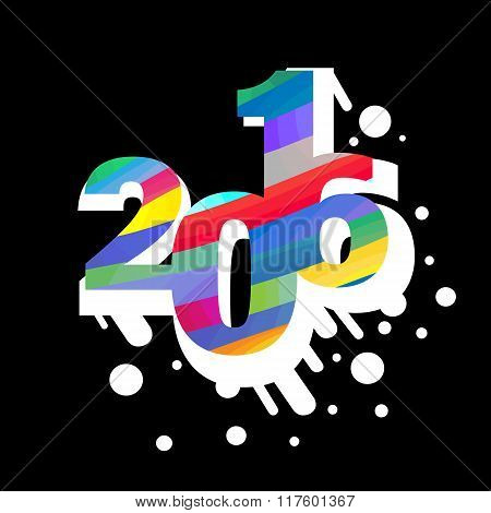 2016 number abstract illustration with snow-white blot shadow