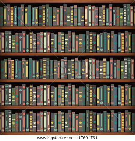 Book On A Wooden Shelfs