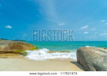 Sunny morning on Lamai beach. Koh Samui. Thailand
