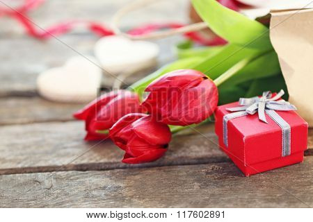 Beautiful romantic composition with flowers. St. Valentines Day background