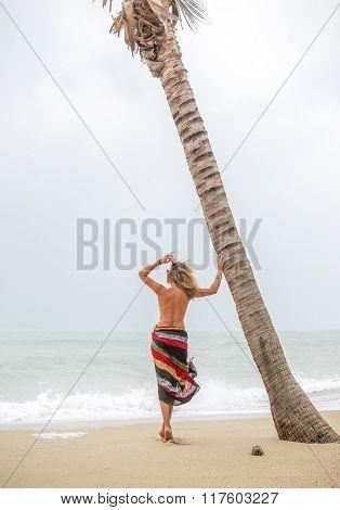Classy woman on the tropical  beach