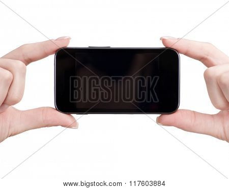 mobile phone in female hand