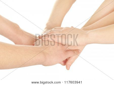 United hands on white background