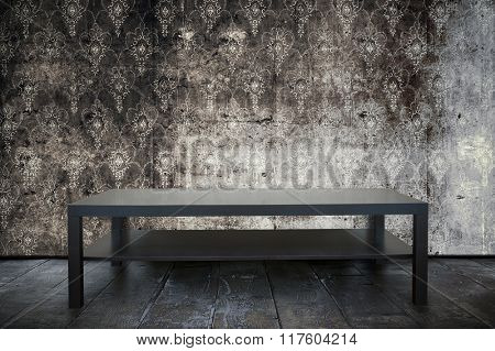 table in old grunge room