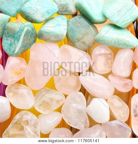 Semiprecious stones on bright background