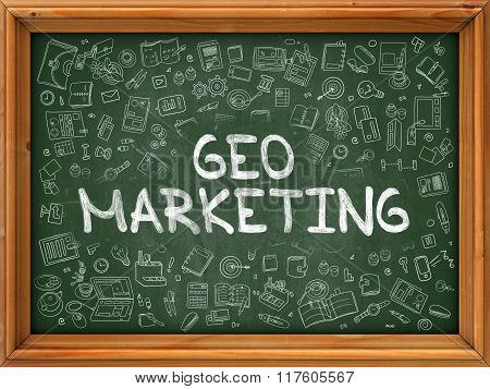 Green Chalkboard with Hand Drawn Geo Marketing.