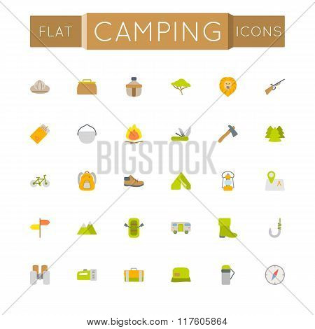 Vector Flat Camping Icons