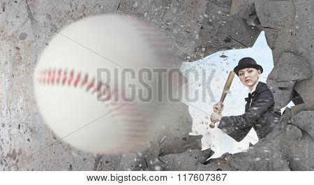 Baseball girl training