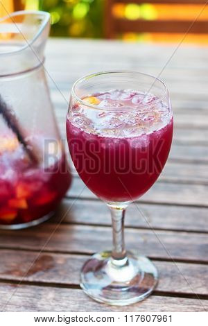 Glass Filled With Ice And Sangria.