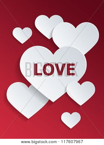 White Hearts with Love Text Against Red Background for Valentines Day Concept. 3d Rendering.