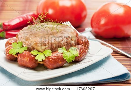 Traditional Russian Food. Aspic Meat Jelly
