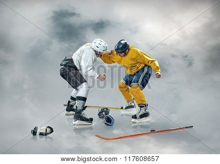 Ice hockey players in action outdoor around clouds
