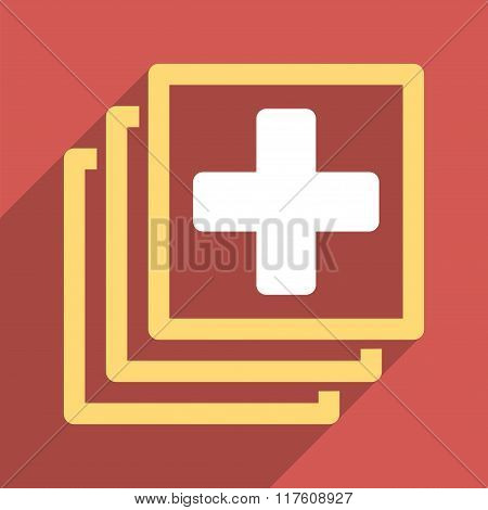 Medical Docs Flat Square Icon with Long Shadow