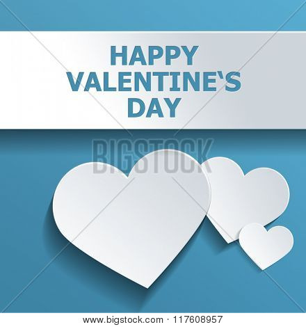 Simple Happy Valentines Day Concept Design Emphasizing White Hearts Against Sky Blue Background. 3d Rendering.