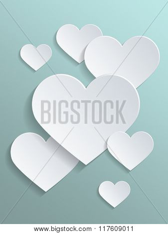 White Heart Shapes with Copy Space Against Light Gray Green Background for Valentines Day Concept. 3d Rendering.