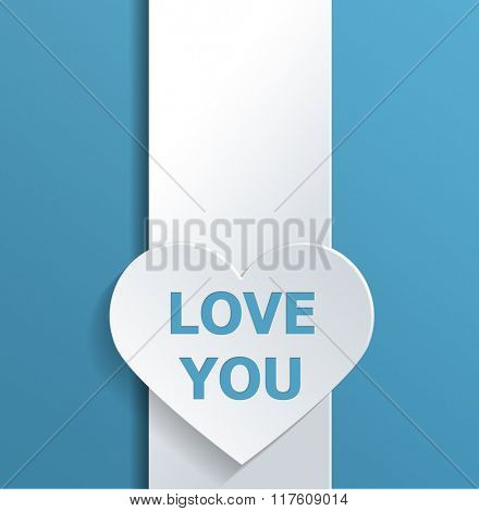 Simple Valentines Day Concept Design Emphasizing Empty White Heart Shape on a Banner with Love You Texts Against Sky Blue Background. 3d Rendering.