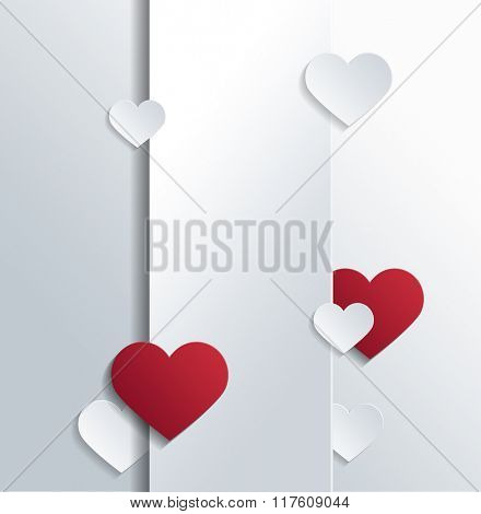 Empty Banner with Red and White Heart Shapes on the Edges for Valentines Day Concept. 3d Rendering.