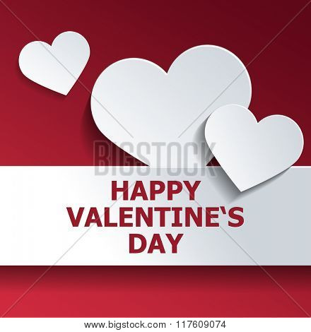 White Heart Shapes Against Red Background for Happy Valentines Day Concept. 3d Rendering.