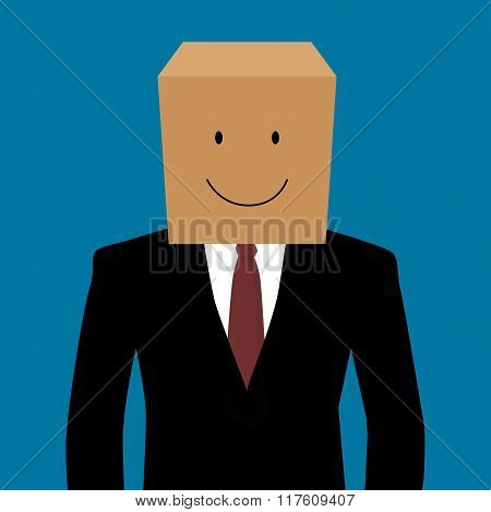 Cardboard Businessman With A Smile Face