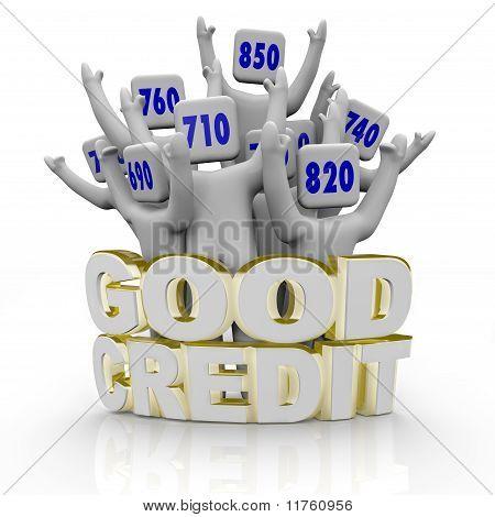 Gute Kredit-Scores - Menschen jubeln