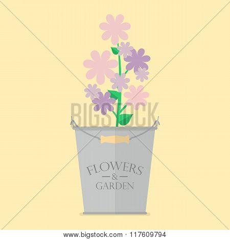 Flowers In Zinc Pot Flat Icon