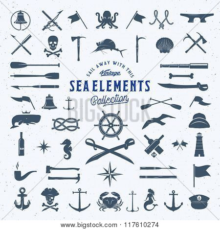 Vintage Vector Sea or Nautical Icon Symbol Elements Set for Your Retro Labels, Badges and Logos. Hug