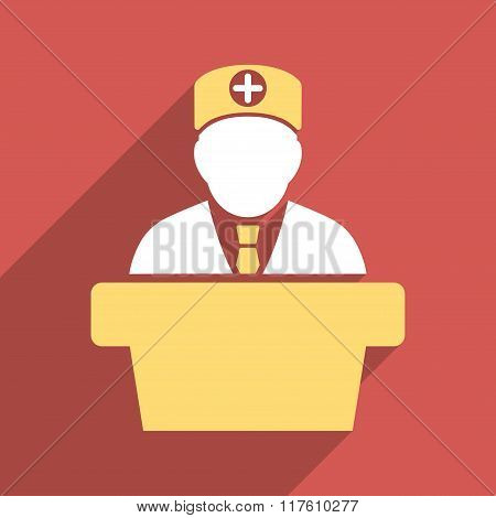Medical Official Lecture Flat Square Icon with Long Shadow