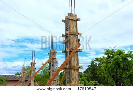 Building Cement Pillar For Home Construction