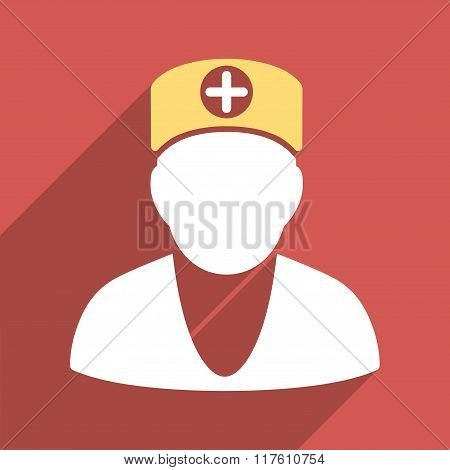 Doctor Flat Square Icon with Long Shadow