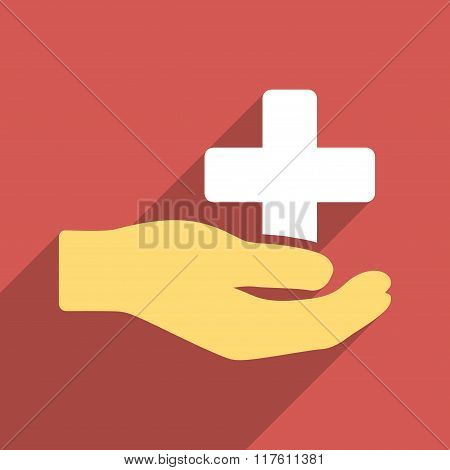 Health Care Donation Flat Square Icon with Long Shadow