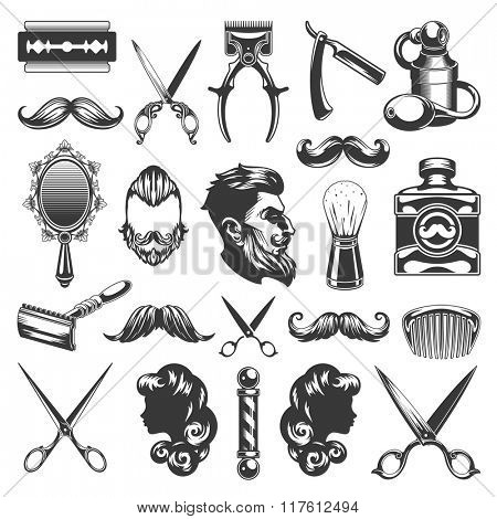 Barber Shop Vector Silhouettes and Icons Set. For Logos, Labels, Badges and Advertising. Beauty Salon Silhouette, Barber Pole Silhouette, Scissors Silhouette, Razor Silhouette, Woman Face, Man Face.