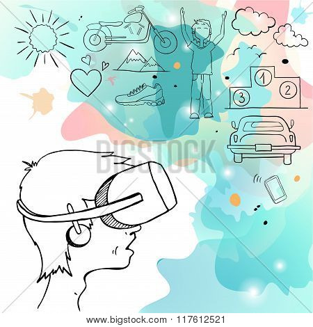 Man in device for virtual reality