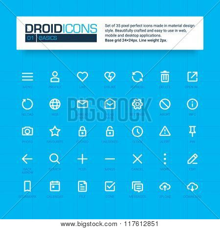 DROID ICONS. Set of 35 flat line art vector icons made in material design style. Easy to use in web, mobile and desktop applications. E-commerce theme.