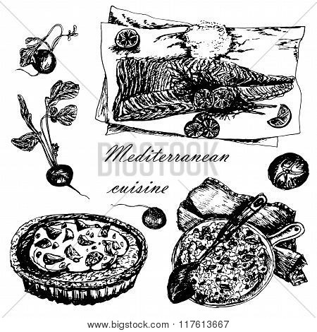 set of Mediterranean dishes: paella, pizza and fish sketch hand-drawn vector illustration