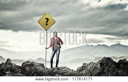 Pretty girl hitchhiker