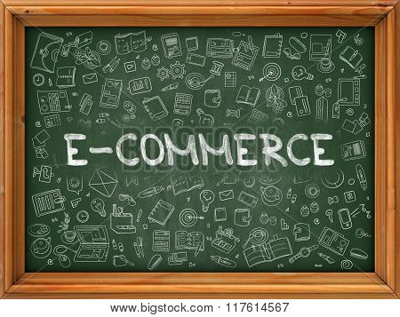 Hand Drawn E-Commerce on Green Chalkboard.