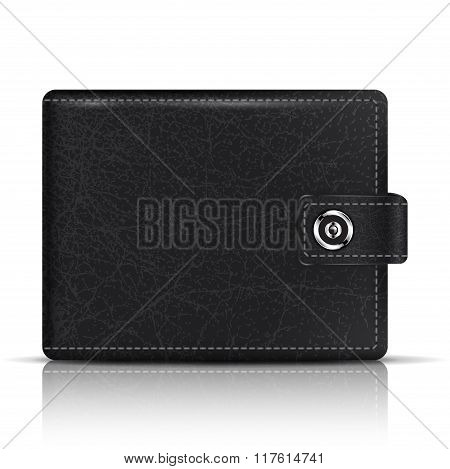 Vector Realistic Black Leather Wallet