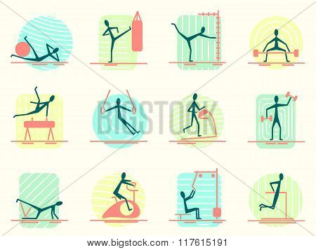 Set of sport equipment icons with person making different gym activity. Athletic, body building, tra