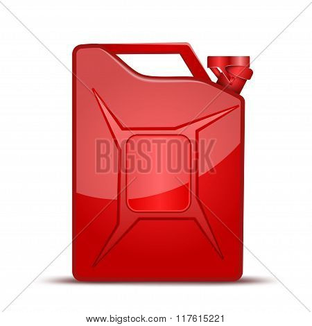 Fuel container jerrycan. Gasoline canister. Vector Illustration isolated on white background.