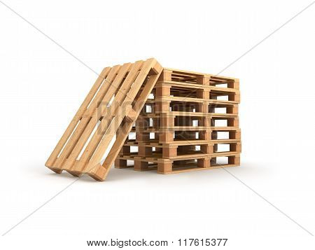 Stack Pallets Isolated On A White Background