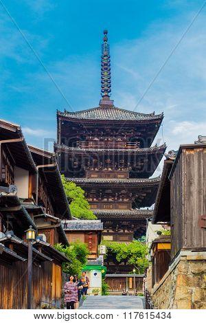 Yasaka No To Pagoda Tourists Front Day Kyoto
