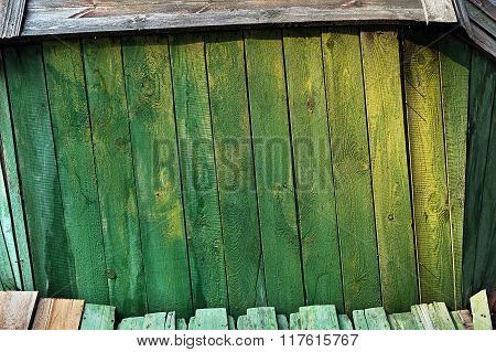 Frame background of green colored boards
