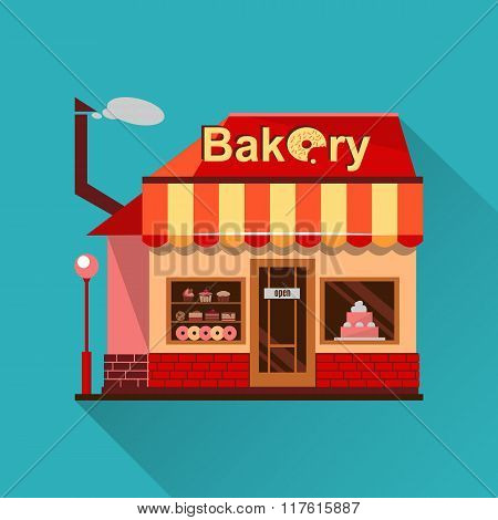 Bakery building with cakes, donuts and pies