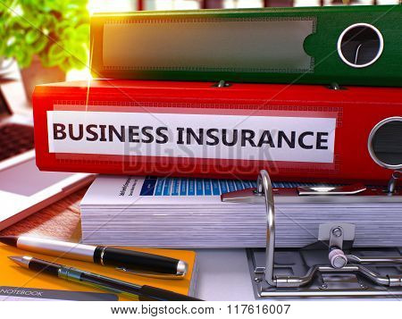 Red Office Folder with Inscription Business Insurance